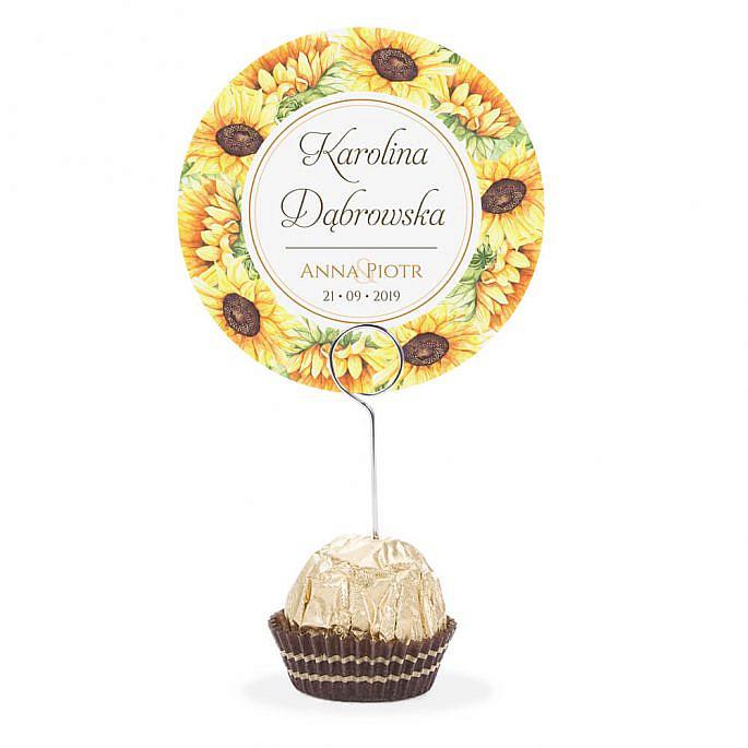 Winietka weselna na stół metalowa szpilka podziękowanie słoneczniki
