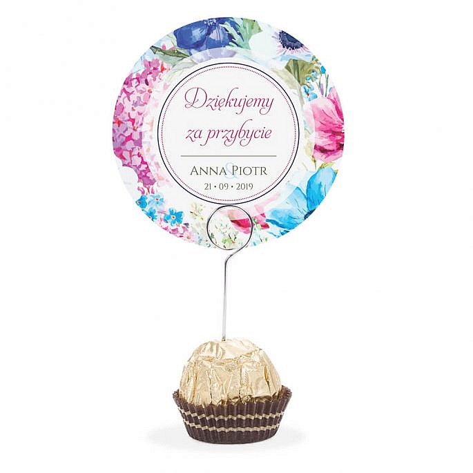 Winietka weselna na stół metalowa szpilka podziękowanie kolorowy motyw kwiatowy