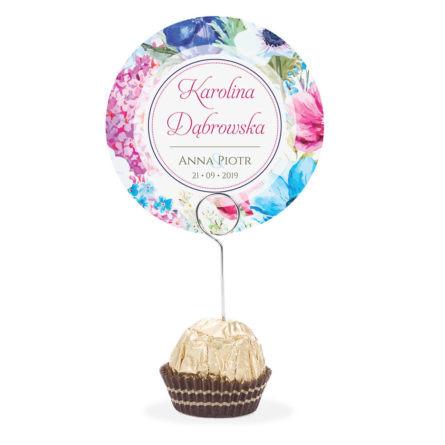 Winietka weselna na stół metalowa szpilka podziękowanie niebieskie kwiaty