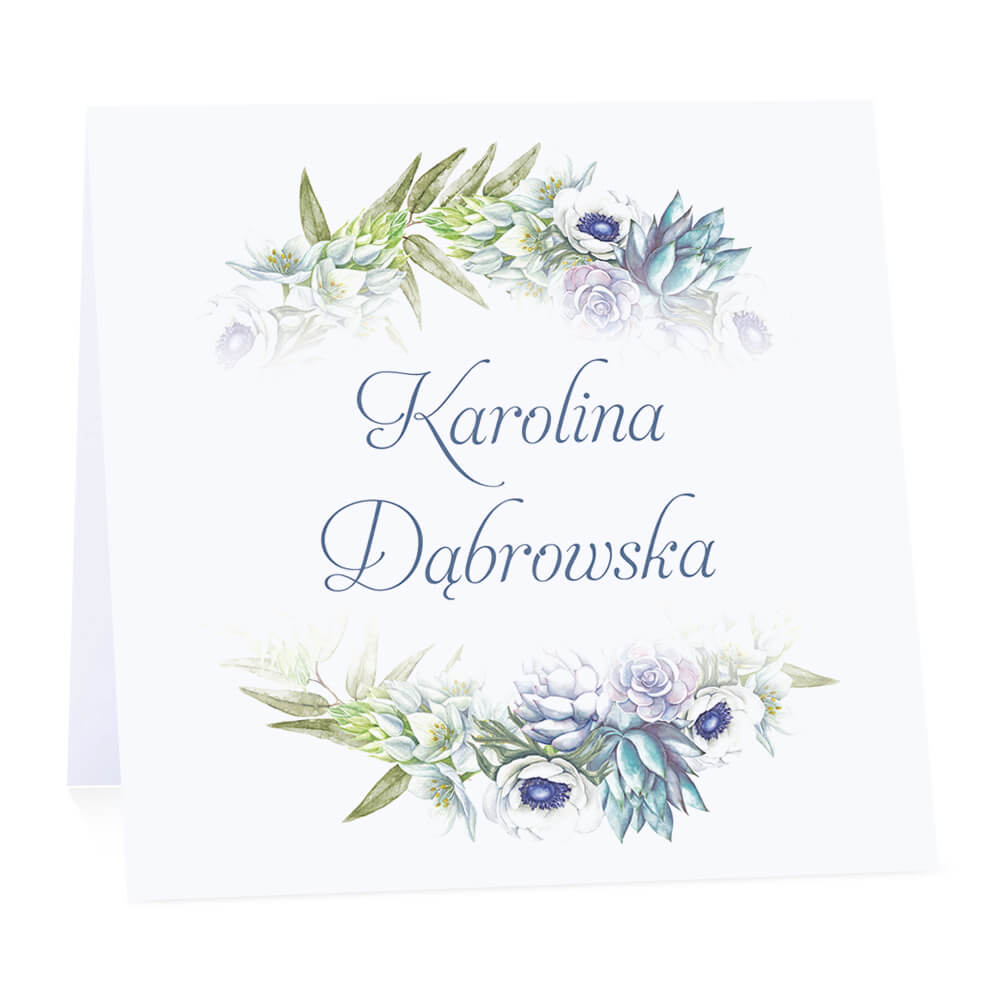 Winietka weselna na stół wizytówka podziękowanie personalizacja anemony sukulenty