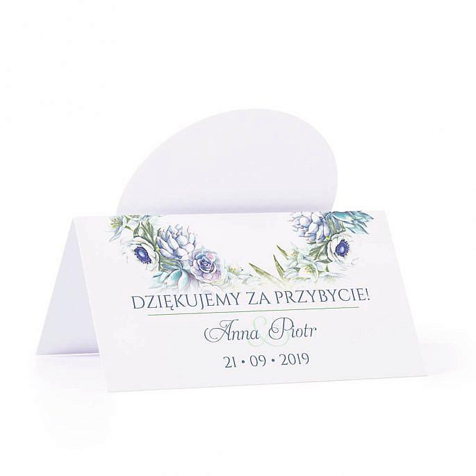 Winietka weselna na stół z motywem kwiatowym anemony sukulenty