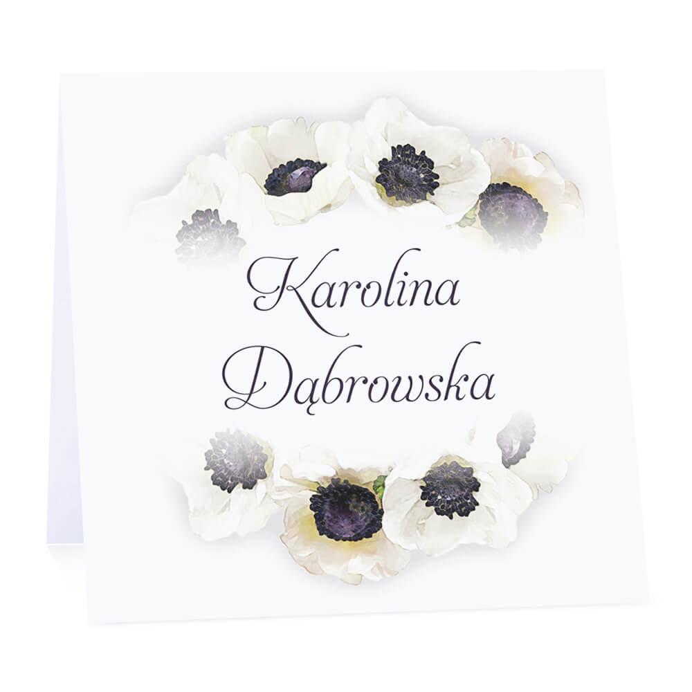 Winietka weselna na stół wizytówka podziękowanie personalizacja anemony