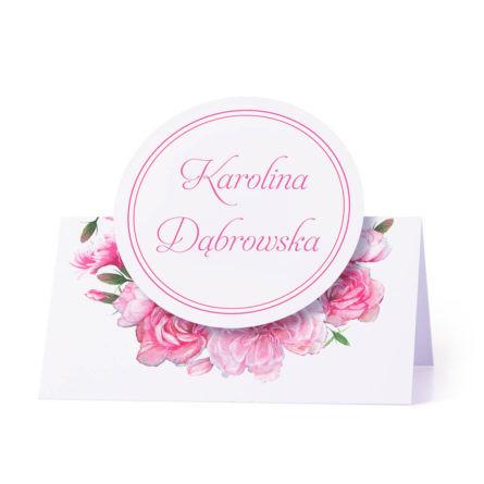 Winietka weselna na stół z motywem różowych goździków personalizacja