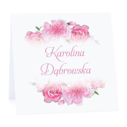 Winietka weselna na stół wizytówka podziękowanie personalizacja różowe goździki