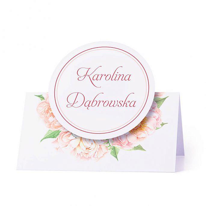Winietka weselna na stół z motywem frezje piwonie personalizacja