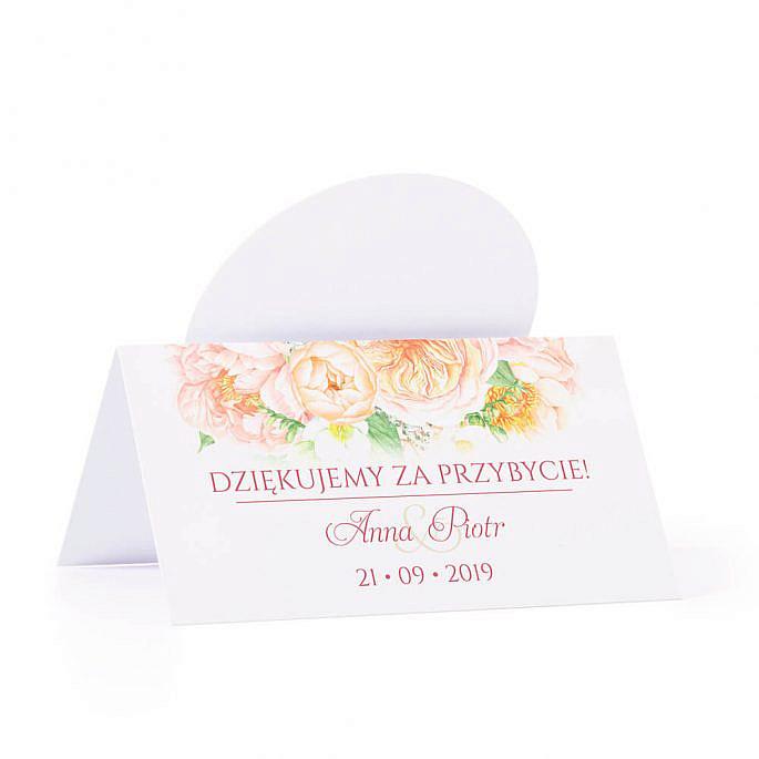 Winietka weselna na stół z motywem kwiatowym frezje piwonie kolorowe