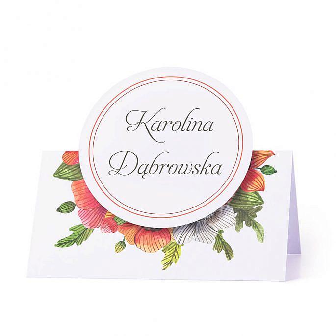 Winietka weselna na stół motyw maki personalizacja