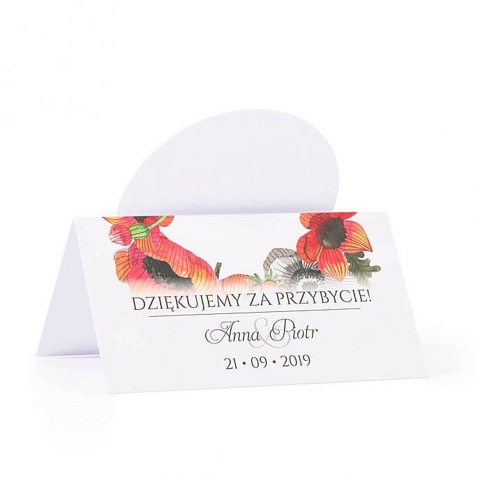 Winietka weselna na stół motyw maki podziękowanie