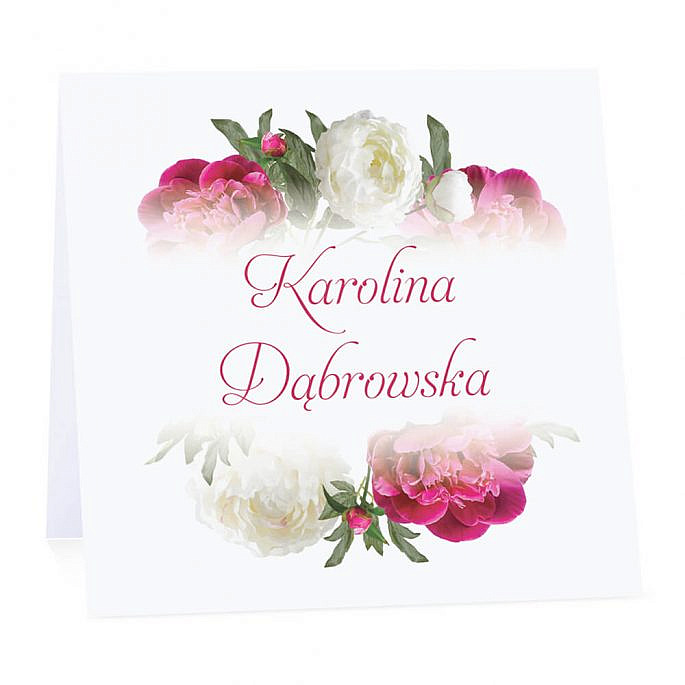 Winietka weselna na stół wizytówka podziękowanie personalizacja różowo białe piwonie