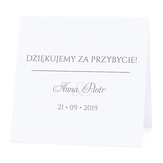 Winietka weselna na stół wizytówka podziękowanie personalizacja
