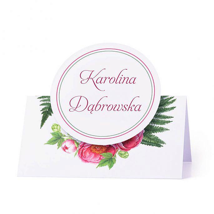 Winietka weselna na stół z motywem kwiatowym piwonie personalizacja