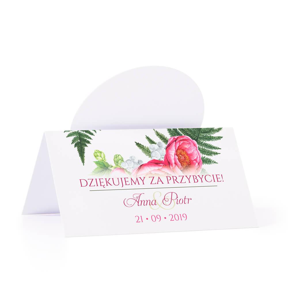 Winietka weselna na stół z motywem kwiatowym piwonie podziękowanie