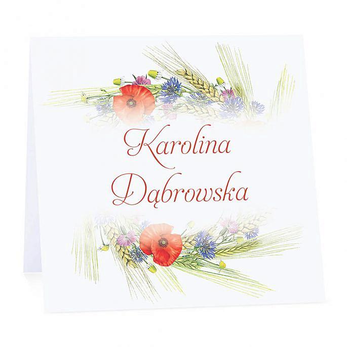 Winietka weselna na stół wizytówka podziękowanie personalizacja kwiaty polne