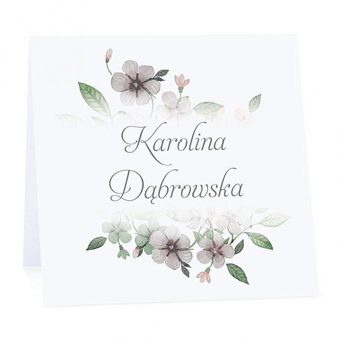 Winietka weselna na stół wizytówka podziękowanie personalizacja kwiaty retro