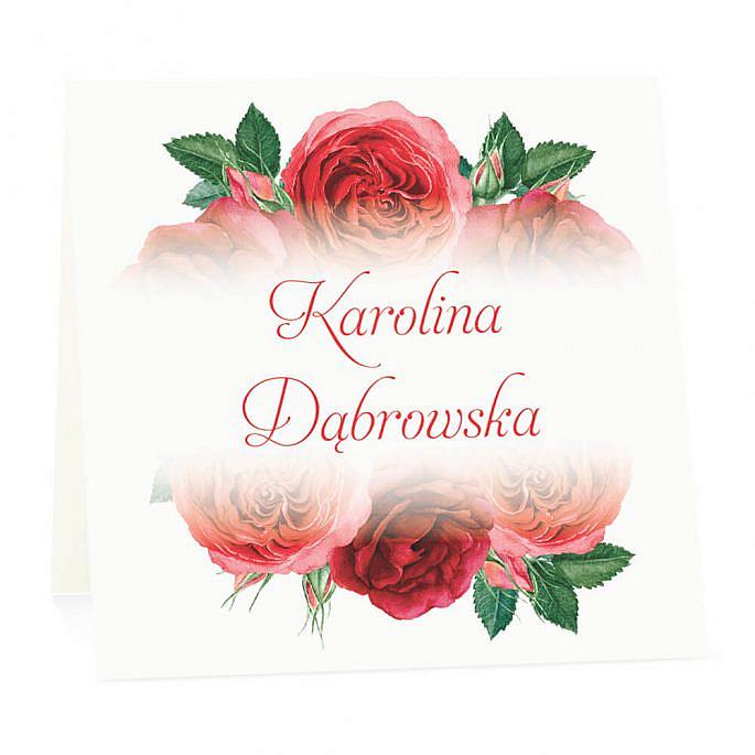Winietka weselna na stół wizytówka podziękowanie personalizacja czerwone róże