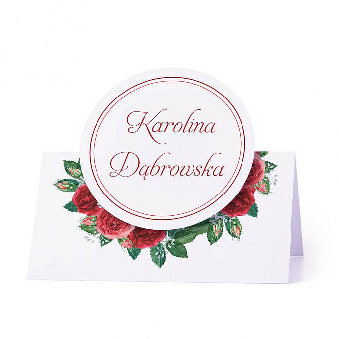 Winietka weselna na stół z motywem kwiatowym czerwone róże personalizacja