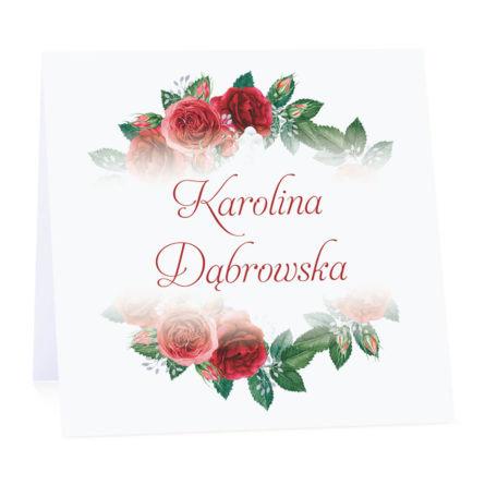 Winietka weselna na stół wizytówka podziękowanie personalizacja róże