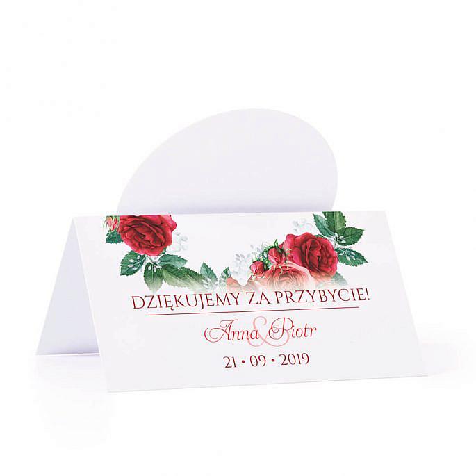 Winietka weselna na stół z motywem kwiatowym czerwone róże