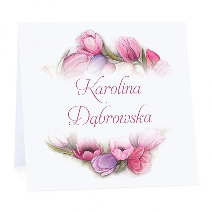 Winietka weselna na stół wizytówka podziękowanie personalizacja kolorowe tulipany