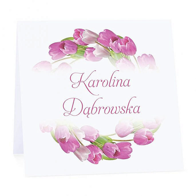 Winietka weselna na stół wizytówka podziękowanie personalizacja tulipany różowe