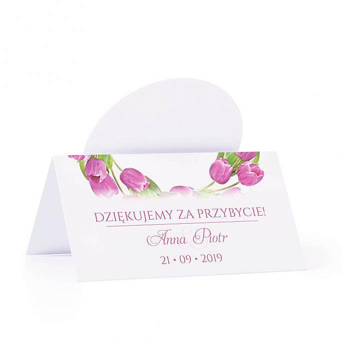 Winietka weselna na stół z motywem kwiatowym tulipany podziękowanie
