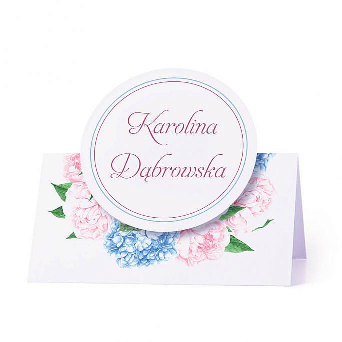 Winietka weselna na stół z motywem kwiatowym hortensja piwonia personalizacja