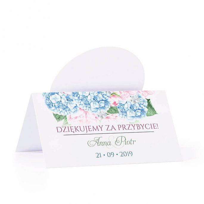 Winietka weselna na stół z motywem kwiatowym hortensja piwonia podziękowanie