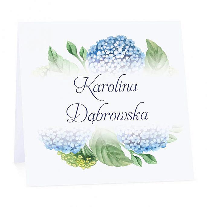 Winietka weselna na stół wizytówka podziękowanie personalizacja niebieska hortensja