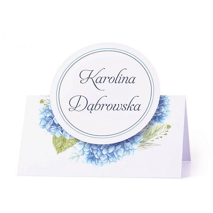 Winietka weselna na stół z motywem kwiatowym hortensja personalizacja