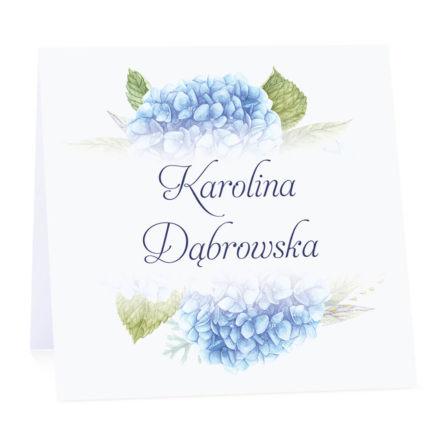 Winietka weselna na stół wizytówka podziękowanie personalizacja hortensja