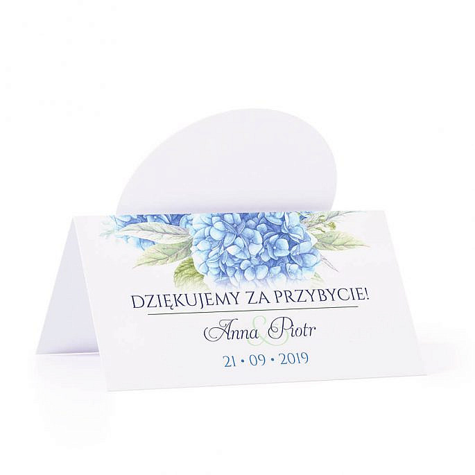 Winietka weselna na stół z motywem kwiatowym niebieska hortensja podziękowanie