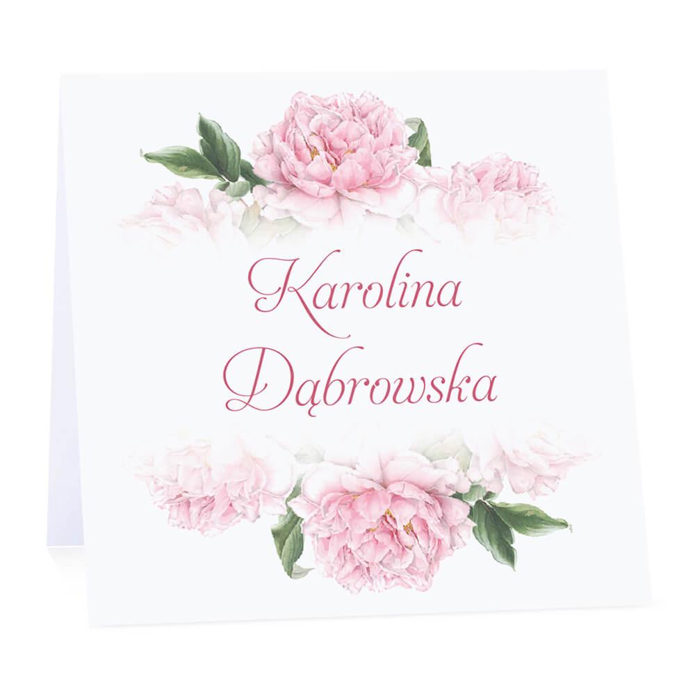 Winietka weselna na stół wizytówka podziękowanie personalizacja piwonie różowe