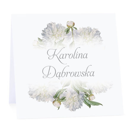 Winietka weselna na stół wizytówka podziękowanie personalizacja białe piwonie