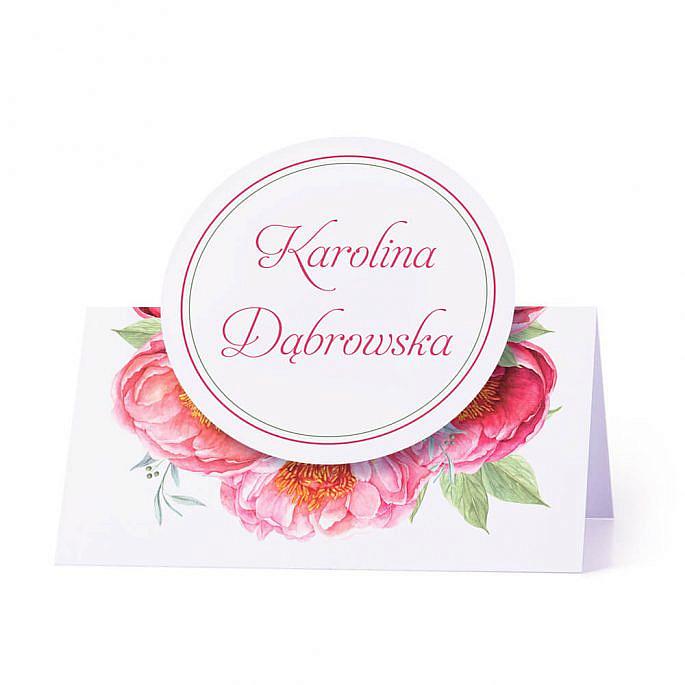 Winietka weselna na stół z motywem kwiatowym piwonii imiona i nazwiska gości