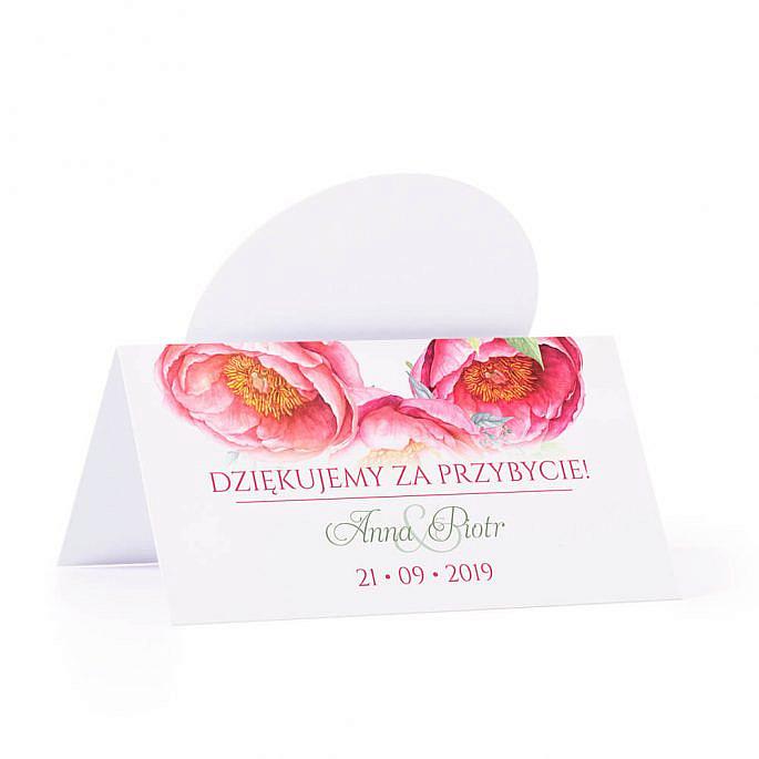 Winietka weselna z motywem kwiatów piwonii personalizacja