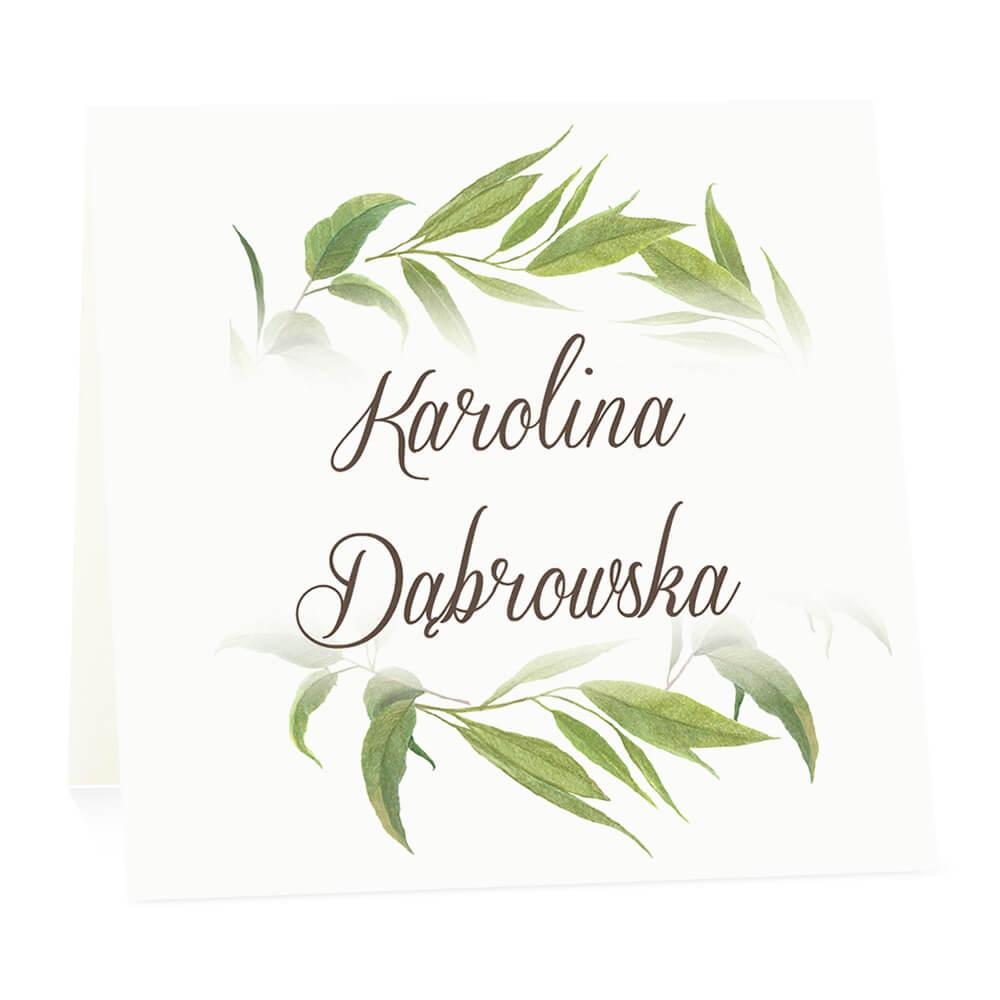 Winietka weselna na stół wizytówka podziękowanie personalizacja liście eukaliptusa