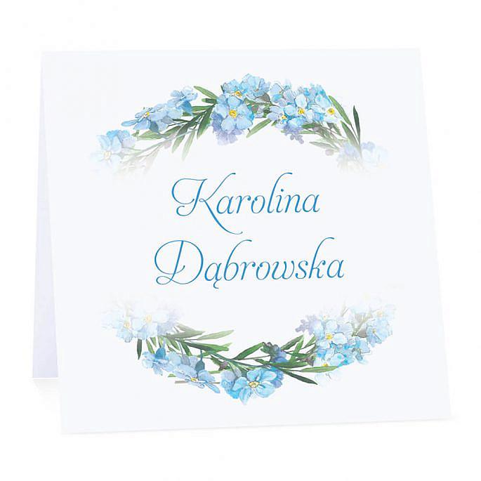 Winietka weselna na stół wizytówka podziękowanie personalizacja niebieskie niezapominajki