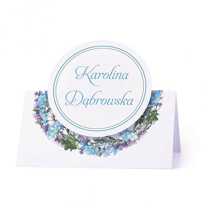 Winietka weselna na stół z motywem kwiatowym niebieskie niezapominajki