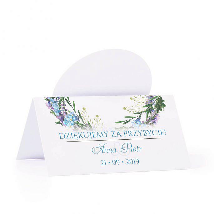 Winietka weselna na stół z motywem kwiatowym niezapominajki podziękowanie