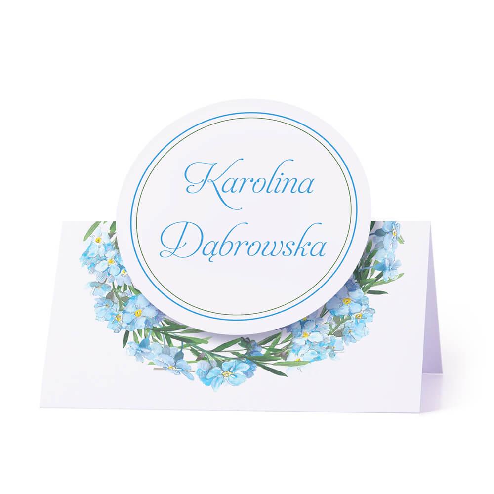Winietka weselna na stół z motywem kwiatowym niezapominajki personalizacja