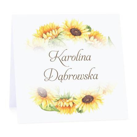 Winietka weselna nastół wizytówka podziękowanie personalizacja słoneczniki