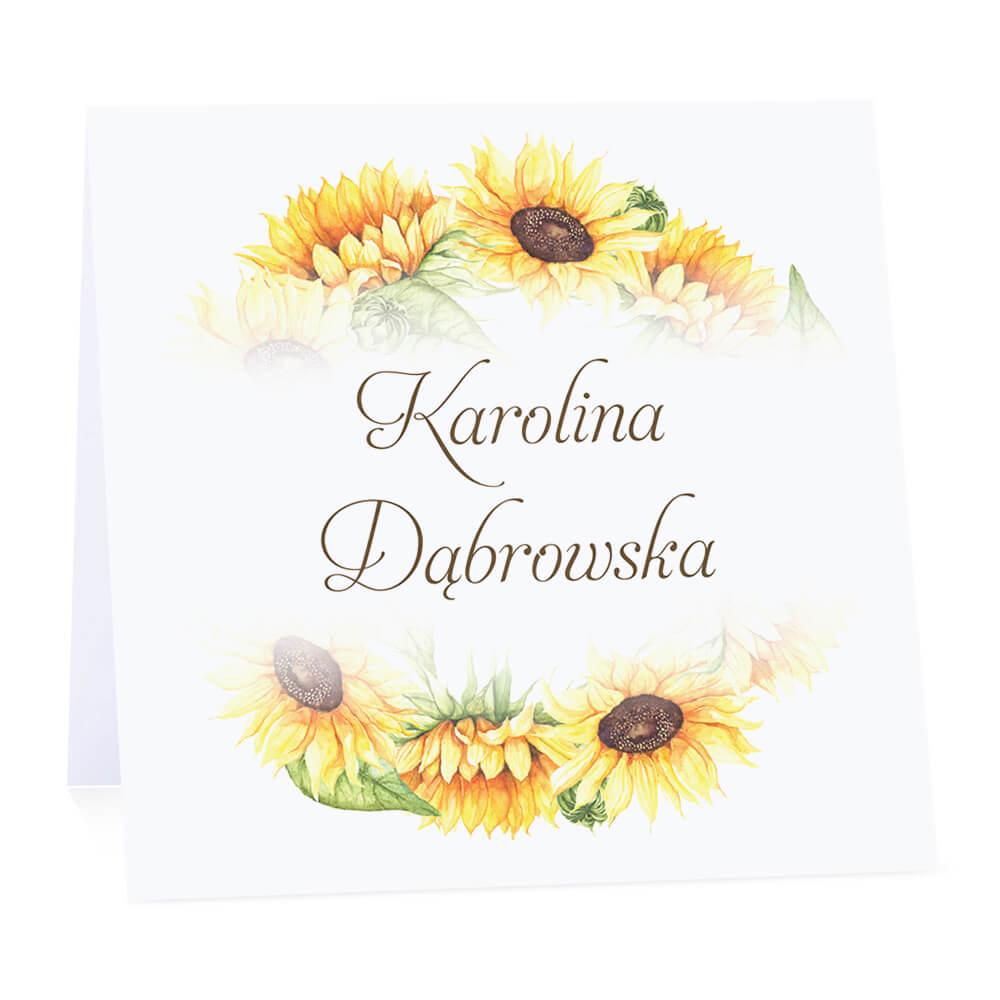 Winietka weselna na stół wizytówka podziękowanie personalizacja słoneczniki