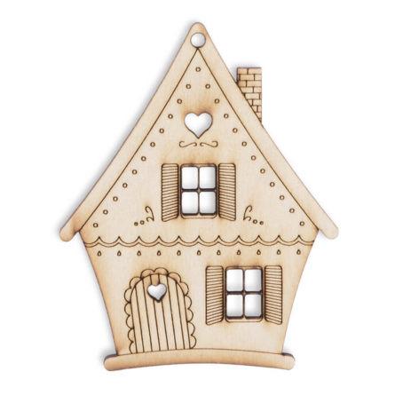 Piernikowy domek drewniana ozdoba na choinkę do malowania