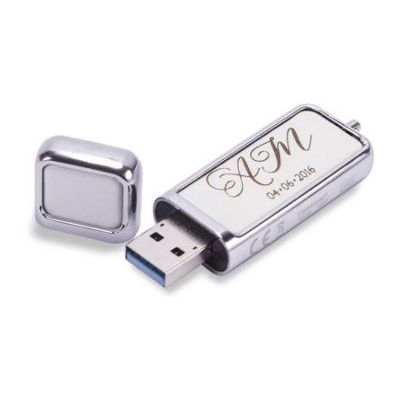 Pendrive 16 GB USB 3.0 biały z grawerem ślubny