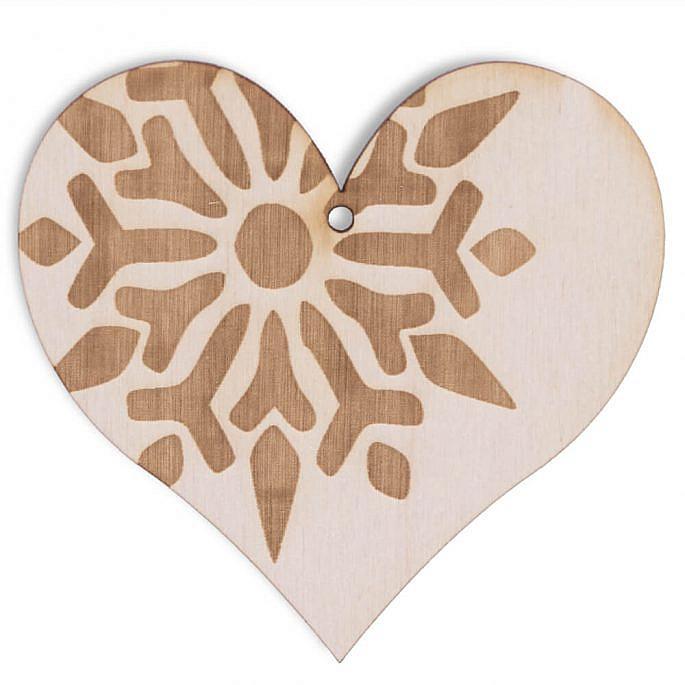 Drewniana ozdoba na choinkę boże narodzenie serce