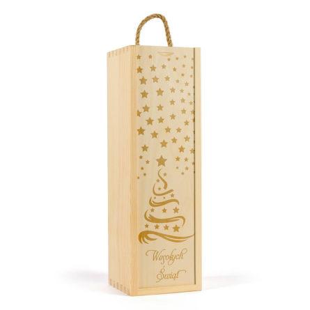 Drewniana skrzynka na wino świąteczna