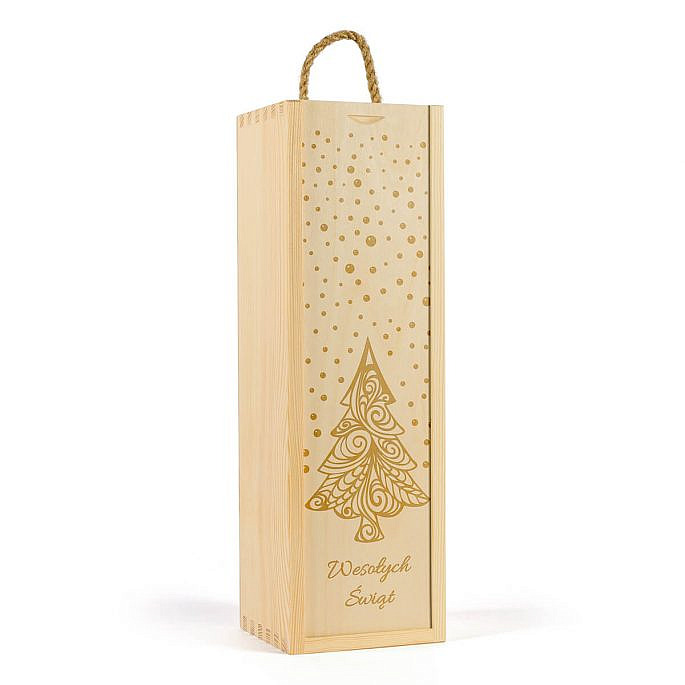 Drewniana skrzynka na jedną butelkę wina motyw świąteczny