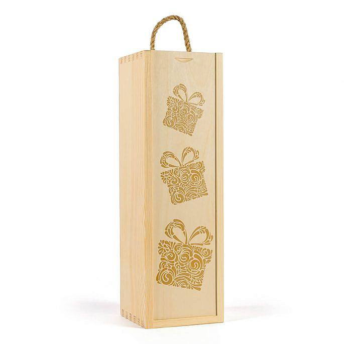 Skrzynka na wino z grawerunkiem prezentów świątecznych
