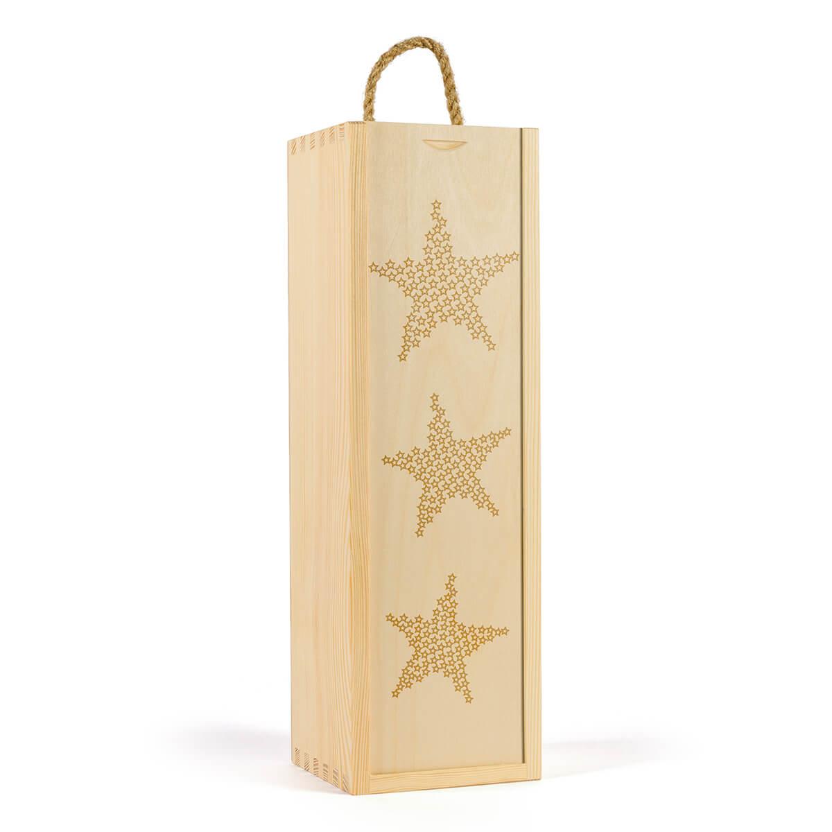Skrzynka na wino z wygrawerowanymi gwiazdkami na święta