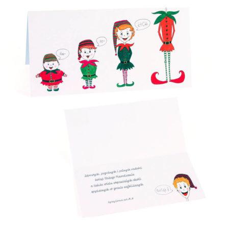 kartka świąteczna z rysunkiem elfów